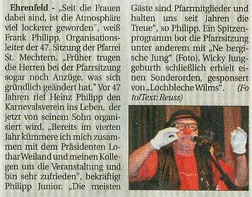 Artikel aus dem Kölner Wochenspiegel vom 06.02.2008